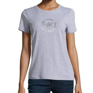 Michael Kors Grey Logo Studded T-Shirt Large Top